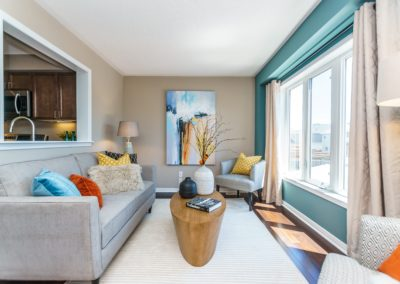 Living Room - Townhouse - Brooklin - Oversized Art - Home Staging