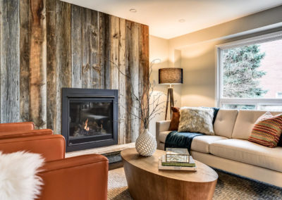 Family Room - Barnboard Fireplace - Home Staging Whitby