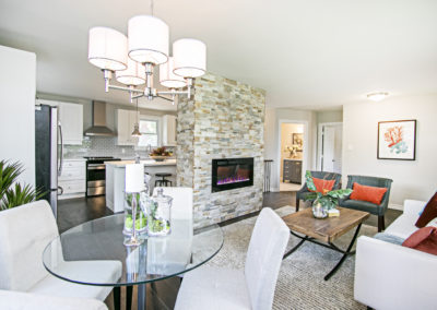 Living Room - Brick Fireplace - Home Staging - Port Perry