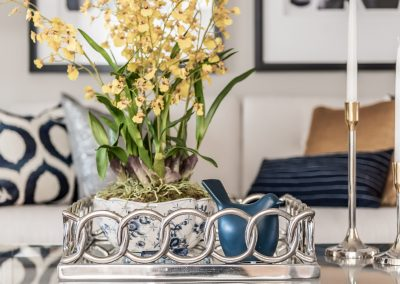 Coffee table vignette - Forsythia - tray - Home Staging - Blue and Yellow
