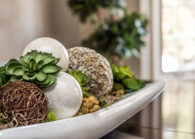 Vignette succulents and textured balls - Home Staging - Durham Region