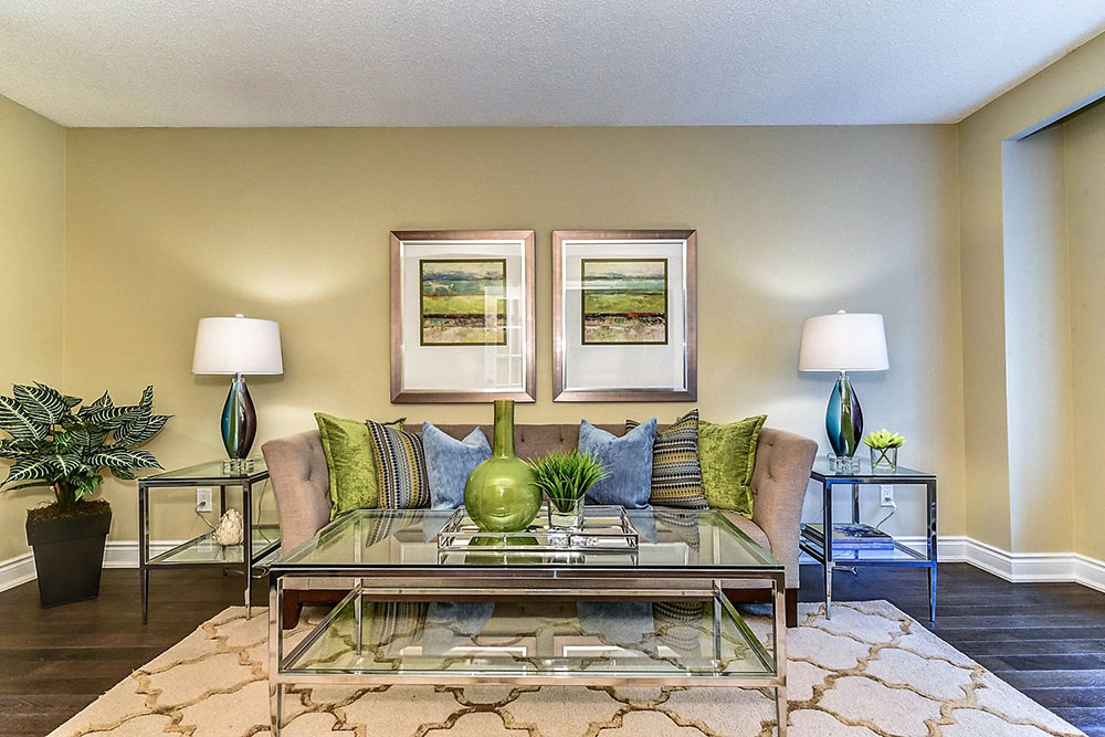 Whitby Living Room After - Home Staging - Green and Blue