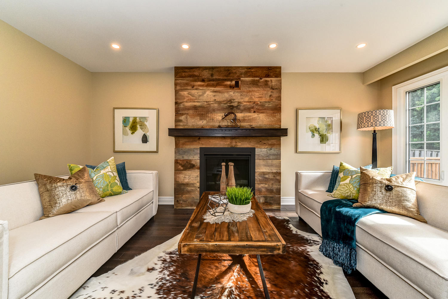 Rustic Wood Fireplace - Home Staging in Whitby