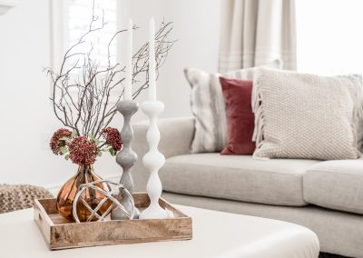 Coffee Table Vignette - Candles - Jewel Tones - Home Staging